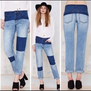 NWT NAST GAL PATCH DENIM JEANS